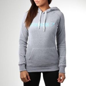 Gymshark Marl Gray Teal Signal Hoodie Size Small